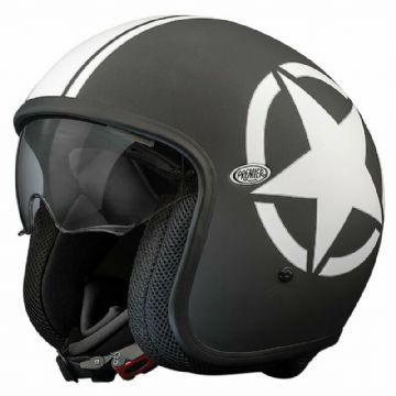 Premier Vintage Star 9 Open Faced Carbon Composite Motorcycle Bike Helmet Black